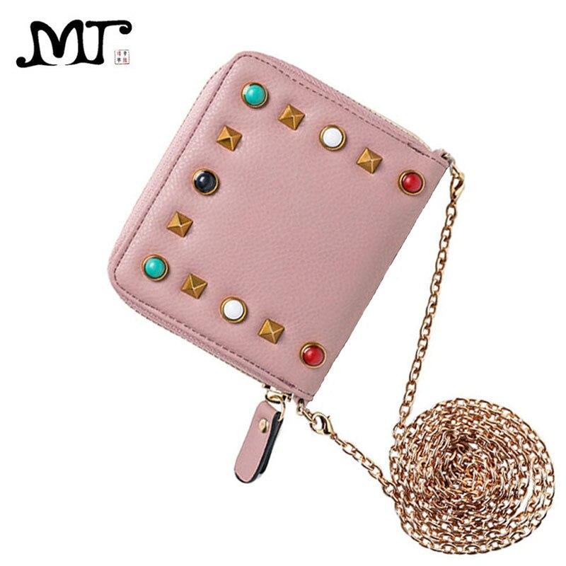 MJ Women Wallets Fashion Colorful Rivets PU Leather Short Wallet Zipper Coin Purse Card Holder
