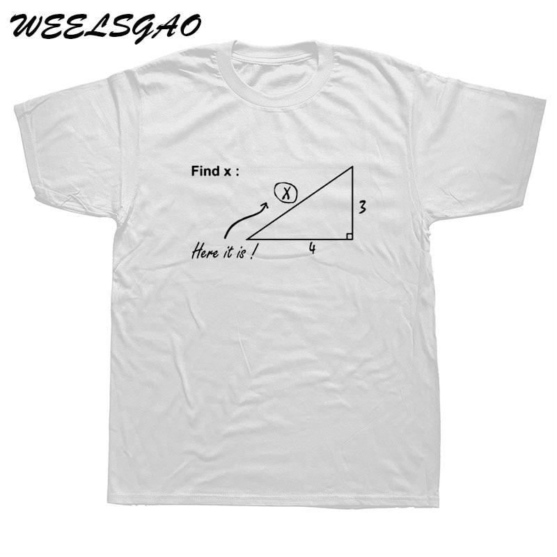 WEELSGAO Find Variable X T Shirts Men Tops Funny Math Teacher T Shirt Casual Cotton Mathematical T-shirt Tee