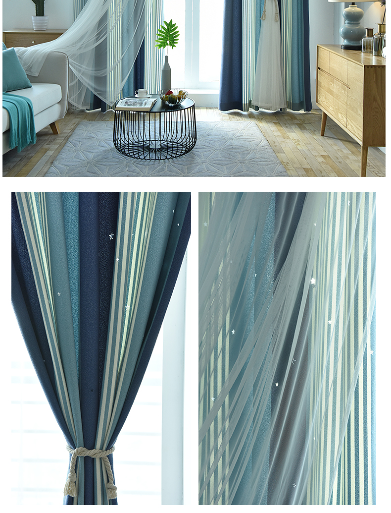 Finished Curtain Princess Style Living Room Curtains Two Layers Hollow Star Blackout Curtain For Bedroom Modern Window Curtain