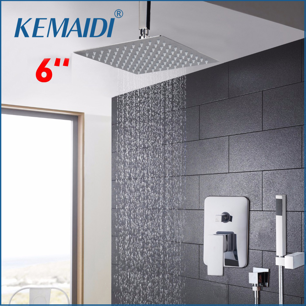 KEMAIDI Chrome Finish Bath Shower Mixer Faucet Single Handle Hole Waterfall Rain Shower Set Faucet with Handshower Shower Set sognare new wall mounted bathroom bath shower faucet with handheld shower head chrome finish shower faucet set mixer tap d5205
