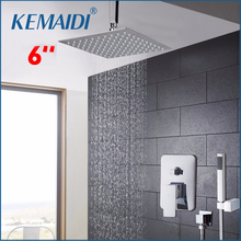KEMAIDI Chrom-finish Bad Dusche Mixer Wasserhahn Einzigen Griff Loch Wasserfall Regen Brausegarnitur Wasserhahn mit Handbrause Dusche Set