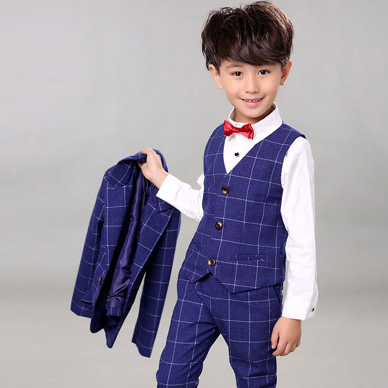 Children Suit Baby Boys Suits Kids Blazer Boys Formal Suit For Wedding Boys Clothes Set Jackets Blazer+Pants+Shirt+Vest 4pcs blazers for boys spring kids clothes suit formal plaid coat vest pants 3pcs set boys wedding suit 3 10y boys suits for wedding