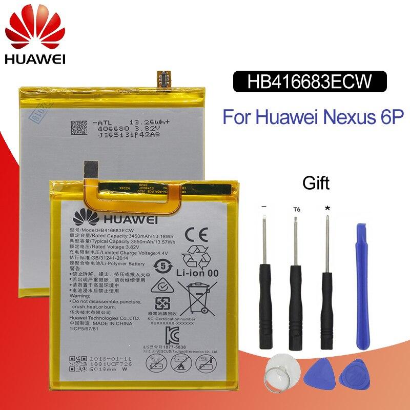 Hua Wei HB416683ECW Batterie De Téléphone de Remplacement D'origine Pour Huawei Nexus 6 p H1511 H1512 Rechargeable Li-ion batterie 3450 mah + outils