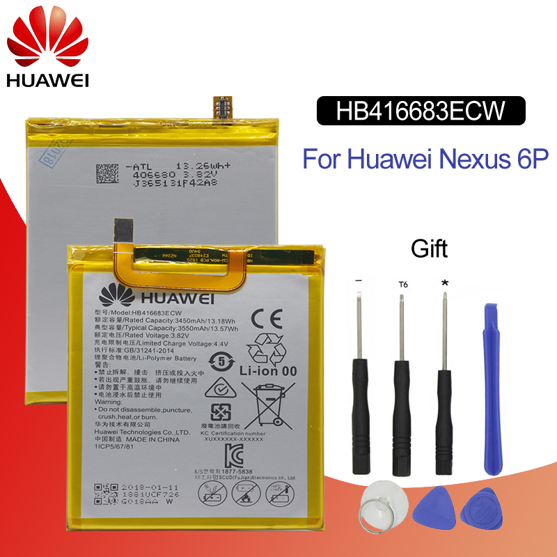 Original Battery For HUAWEI NEXUS 6P HB416683ECW 3450mAh For Huawei Nexus 6P H1511 H1512 Replacement Phone Battery with 9 Tools in Mobile Phone Batteries from Cellphones Telecommunications