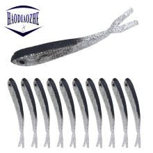 Купить с кэшбэком 10pcs/lot Vivid Lifelike Minnow Fishing Lure Silicone Shad Worm Bait 7.5cm 2g 3D Eyes Laser Soft Wobblers Bass Pike Pesca Tackle