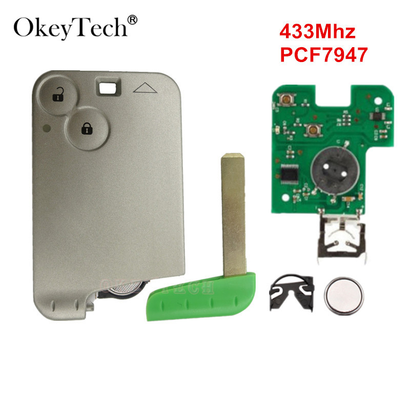 все цены на OkeyTech 2 Buttons Smart Card For Renault Laguna Remote Key with Blade PCF7947 Chip 433Mhz