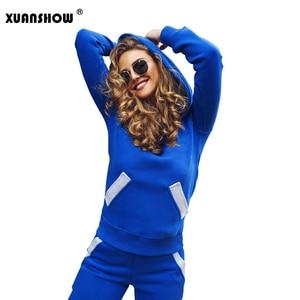 Image 2 - Xuanshow 2020 Mode Herfst Winter Trainingspak Vrouwen Hoodies Sweatshirts + Lange Broek Tweedelige Set Outfits Gebreide Chandal Mujer