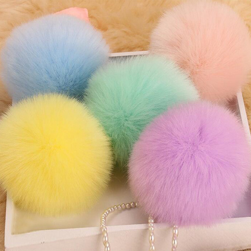 8CM Fluffy Pompon Bunny Fur Ball Key Chain Ring Women Faux Rabbit Fur Pom Pom Keychain Bag Charms Trinket Wedding Jewelry Gift