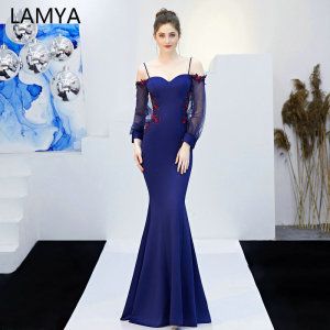 LAMYA Spaghetti Strap Backless Evening Party Dresses 2019 Mermaid Appliques Party Gown Long Lantern sleeve Robe De Soiree