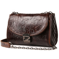 259769569 New Vintage Trend Women Oil Wax Genuine Leather Cowhide Embossed Casual  Crossbody Shoulder Bags