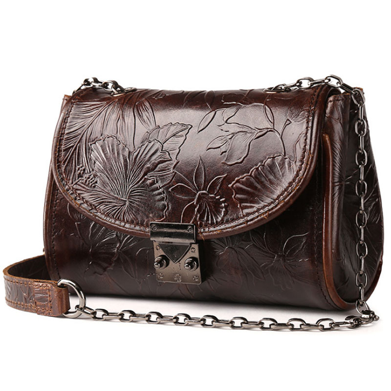 Vintage Trend National Style Women Oil Wax Genuine Leather C