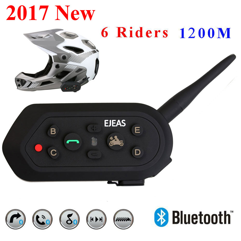 2017 New Ejeas E6 BT Motorcycle Headset 6 Riders 1200M Communication Helmet Interphone VOX Bluetooth Intercom Free Shipping wireless bt motorcycle motorbike helmet intercom headset interphone