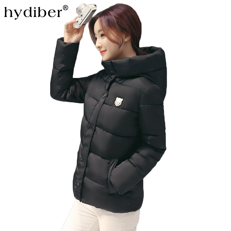 HYDIBER 2018 new winter womens short cotton dress fashion large size slim long sleeve jacket casual warm hat zipper blouse ...