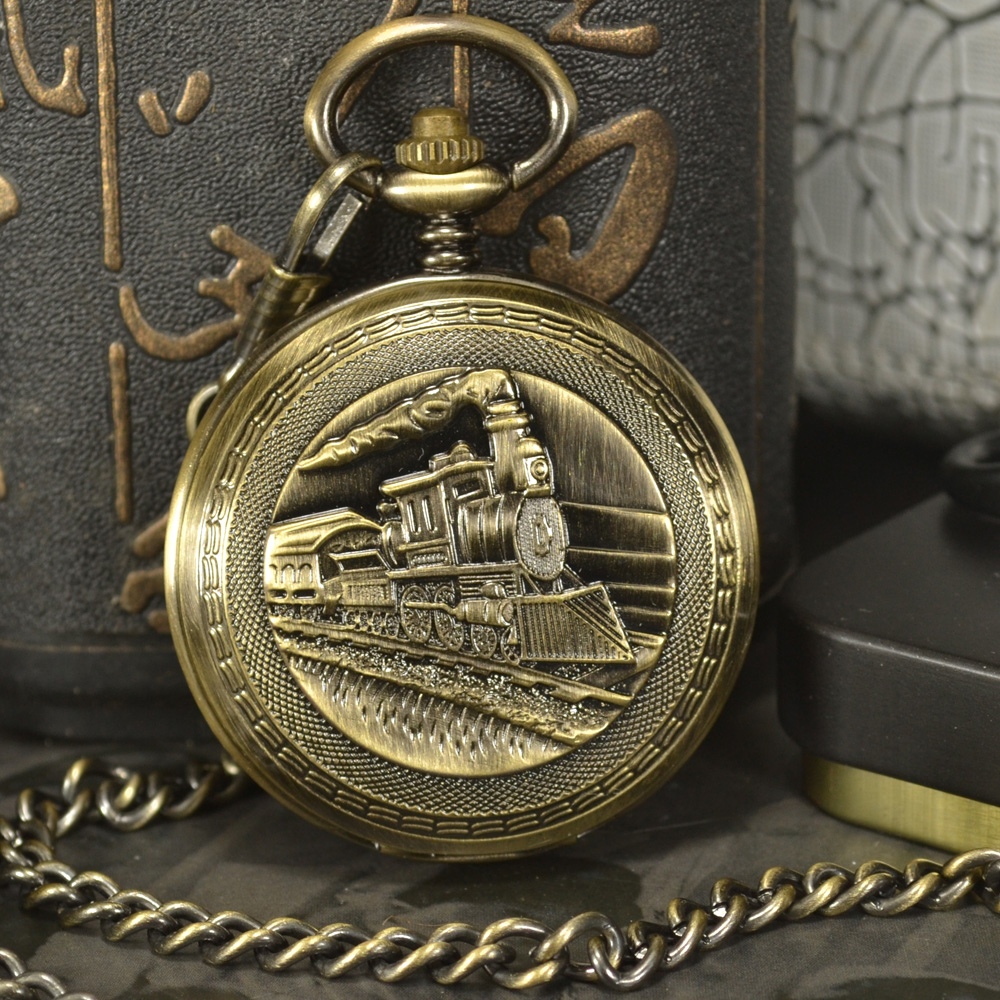 TIEDAN Designer Train Steampunk Luxury Antique Skeleton Mechanical Pocket Watch Men Chain Necklace Casual Pocket & Fob Watches luxury silver shield pattern round dial mechanical pocket watches casual fob watch for men women steampunk skeleton watches gift