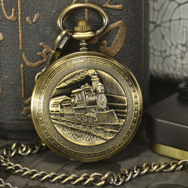 TIEDAN Designer Train Steampunk Luxury Antique Skeleton Mechanical Pocket Watch