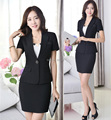 New Spring Summer Uniform Style Short Sleeve Formal Blazers Professional Business Office Work Wear Suits Blazer And Skirt Set