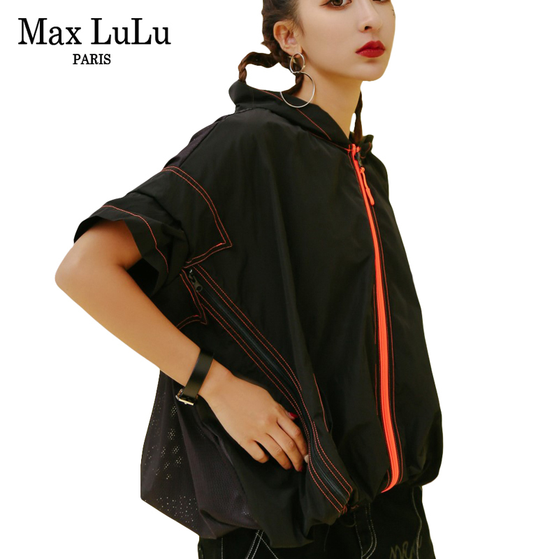 Max LuLu Fashion Korean Brand Designer Girls Hip Hop Streetwear Women Sexy Mesh Jacket Short Hooded Woman Printed Coat Oversized max short