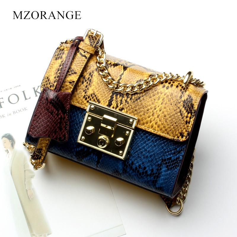 Vintage Color Serpentine design Genuine Leather Women Chain Bag 2018 Embossed Cow Leather splice Female Shoulder Crossbody Bags yuanyu 2018 new hot free shipping real python skin snake skin color women handbag elegant color serpentine fashion leather bag