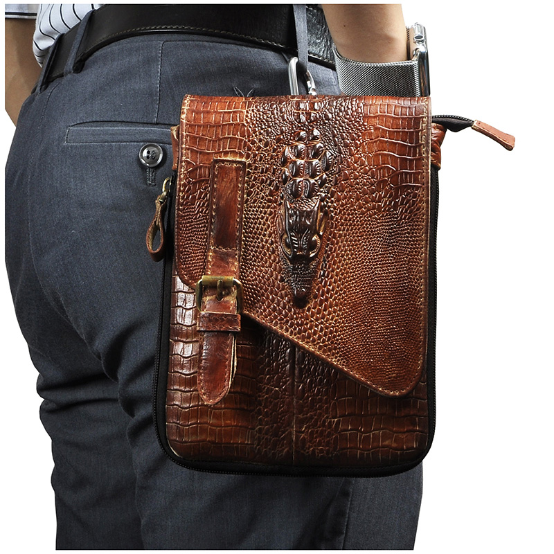 Leather Men Casual Design Multifunction Small Messenger Cross Body Bag Travel Fashion Waist Belt Pack 8