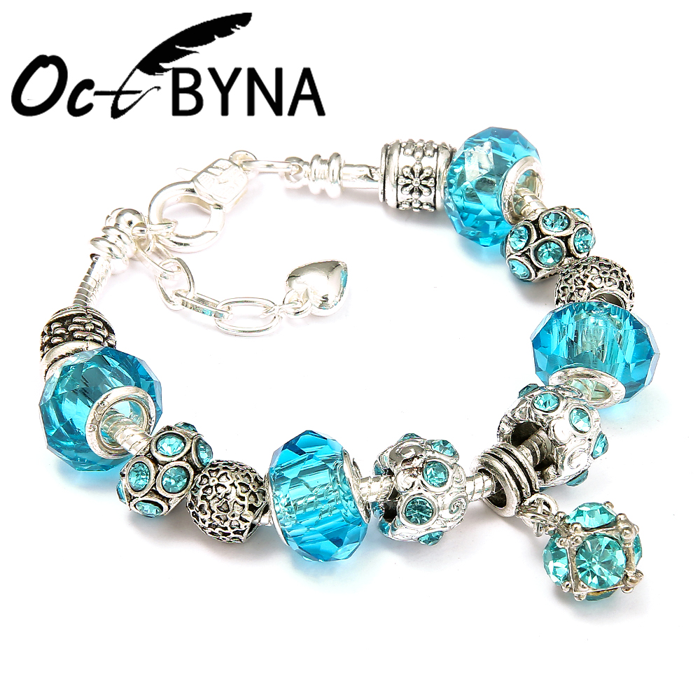 Octbyna Sky Blue Murano Glass Bead Charms Bracelet for Women Silver Crystal Original Pandora Bracelet Fashion DIY Jewelry