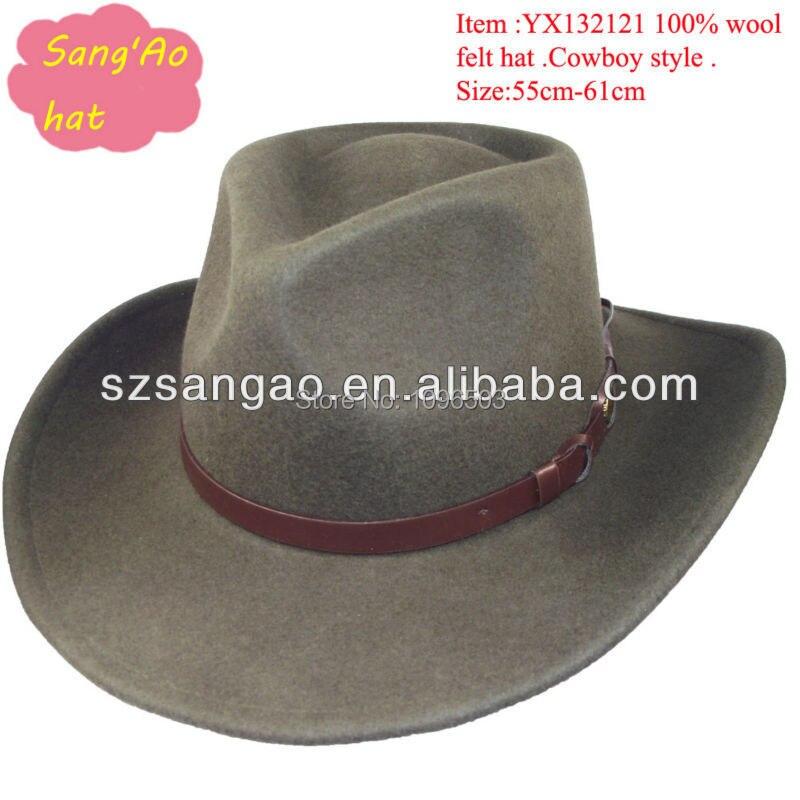 Customized High Quality Large Felt Cowboy Hats Brown Floppy
