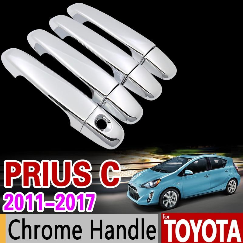 For Toyota Prius C 2011-2017 Chrome Handle Cover Trim Set AQUA 2012 2013 2014 2015 2016 4Dr Car Accessories Sticker Car Styling