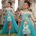 Vestidos de festa Turquoise Prom Dress Short Front Long Back Lace Graduation Dresses Detachable Train Fast Shipping 2016
