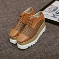 Big Size Shoes Woman Summer Autumn 2017 European Flat Platform Square Toe Lace Up Hollow Out shoes woman female Brown /Black 40