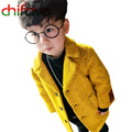 2016 New Autumn Winter Toddler Boys Kids Coats Long Sleeve Turn-down Collar Single Breasted Solid Warm Jackets for Infant Boys