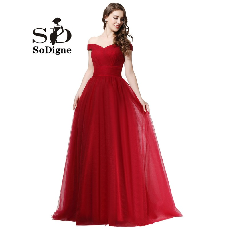 Långklänning Festklänning Billiga Bourgogne Formella Klänningar Elegant Lace-Up Båthals Custom Made Women Evening Gowns Tulle Gown