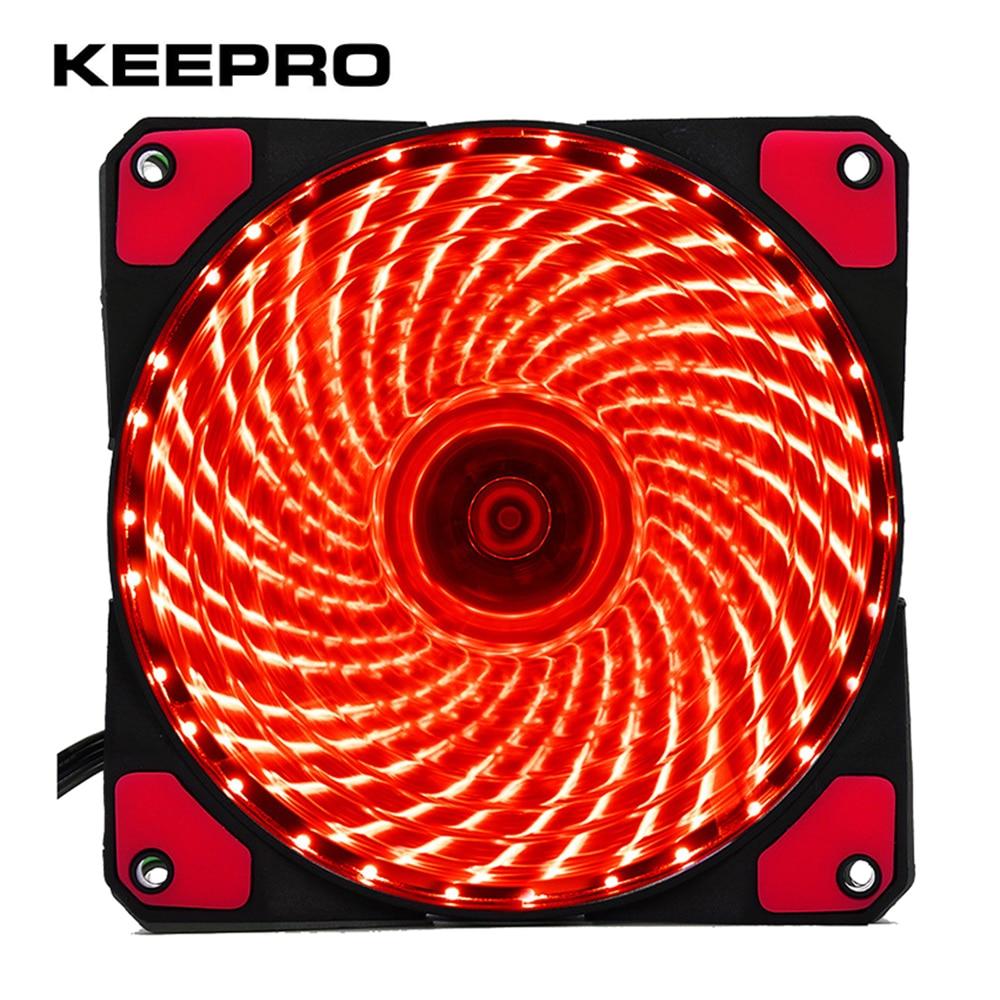 KEEPRO Original 33 Lights 120mm PC Computer LED Silent Fan 12V Luminous 3Pin 4Pin Plug Computer Case Heatsink Cooler Cooling Fan segotep halo 12 silent casing fan