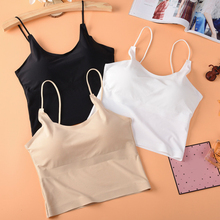 Women Summer Tube Top Seamless Strappy Tank Top Sexy Sleeveless Solid Cami with Bra Pad White Black Sexy Cami Ladies Summer Tees lace panel strappy cami bandeau