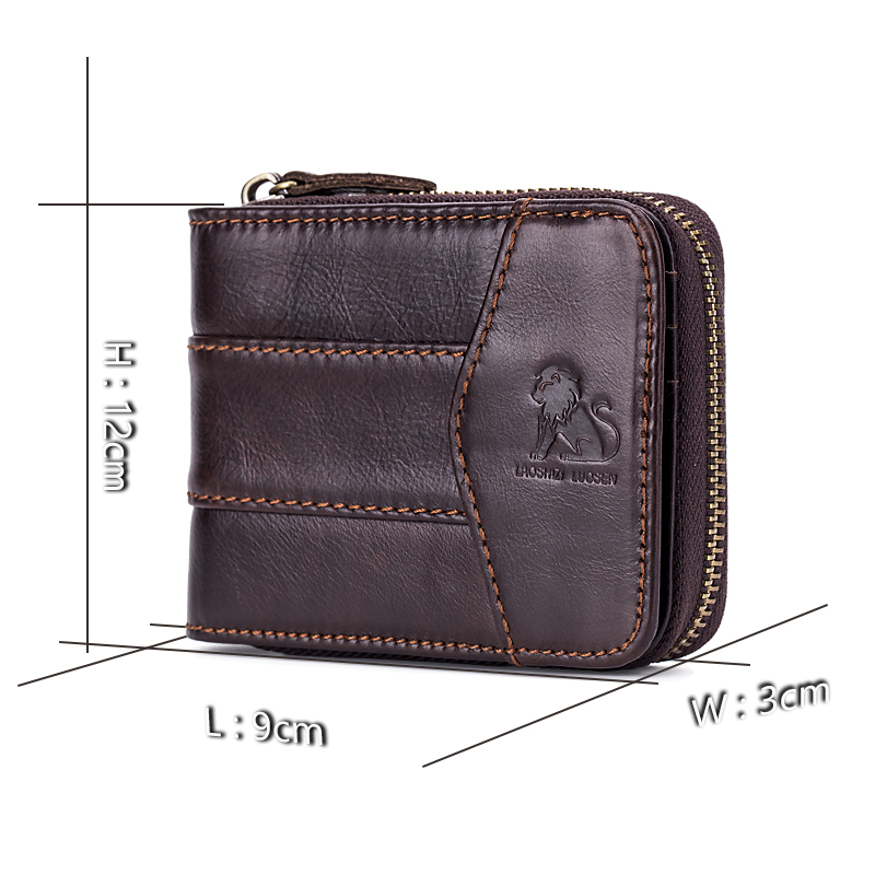 HELIE Genuine Leather Men Zipper Wallets Coin Pocket Real Men s Leather Wallet with Coin High