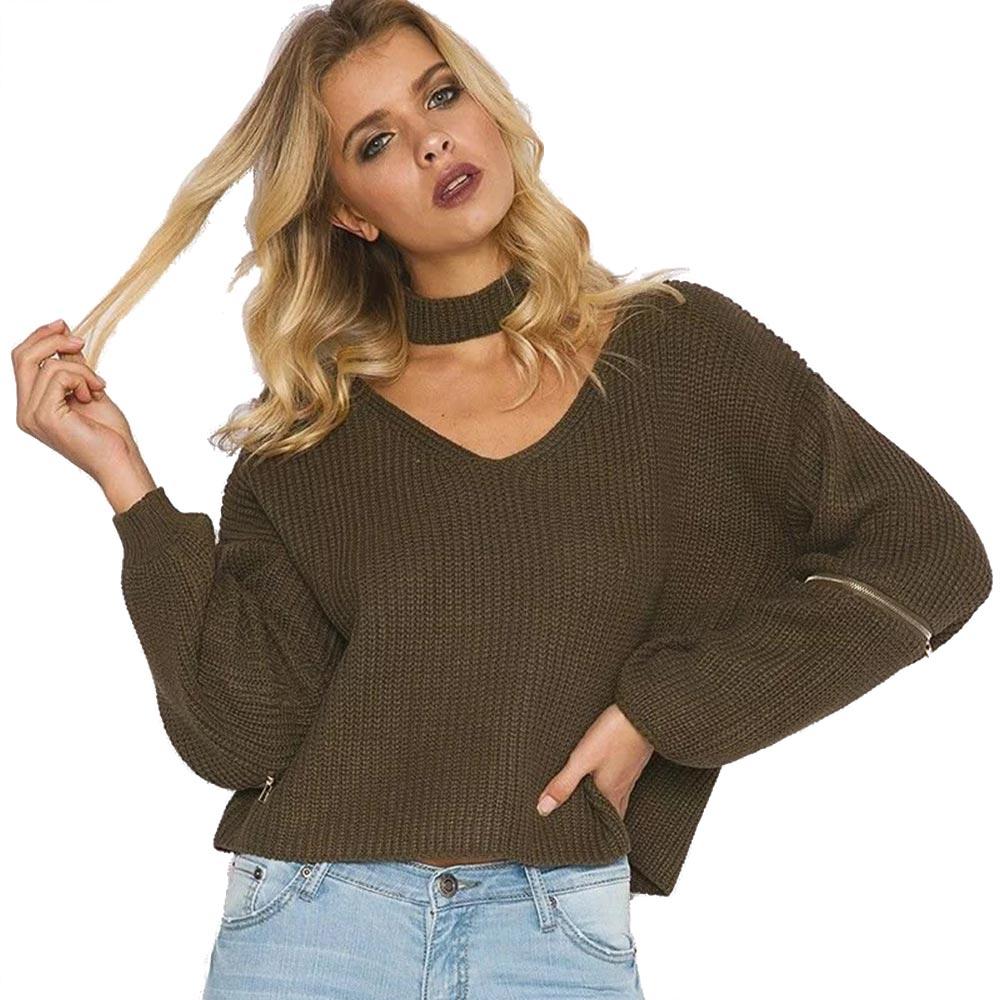 Otoño invierno Moda Solid Mujeres V cuello Suéteres Flojos Abrigos Pullovers Est