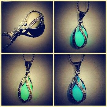 20PCS Magic Luminous water drop shape Pendant Necklace  Stone Hollow Locket Cage  Glow In The Dark Women Necklace