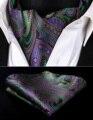 Pocket Square Wedding Party Classic RP927GS Púrpura Verde Bufandas de Paisley de Los Hombres Corbata de Seda Corbata Ascot Pañuelo Set