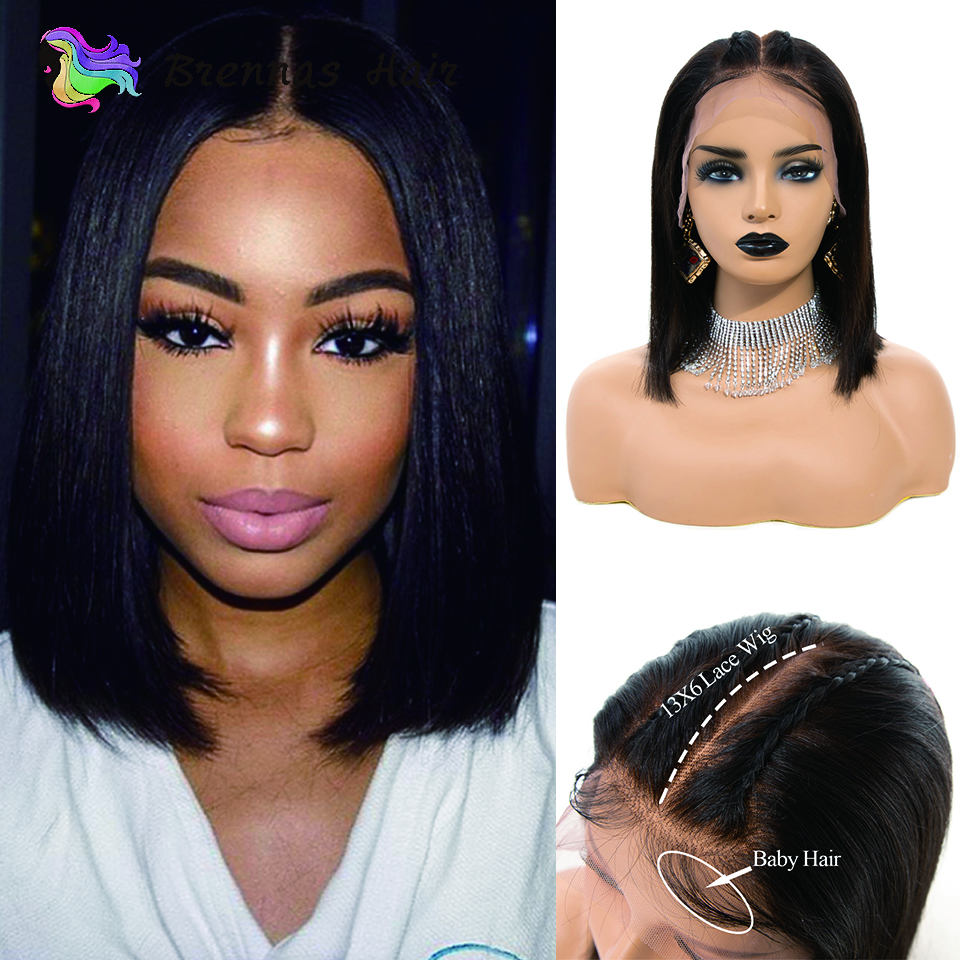 Straight short bob wig lace front human hair wigs with baby hair 13x6 lace front wig