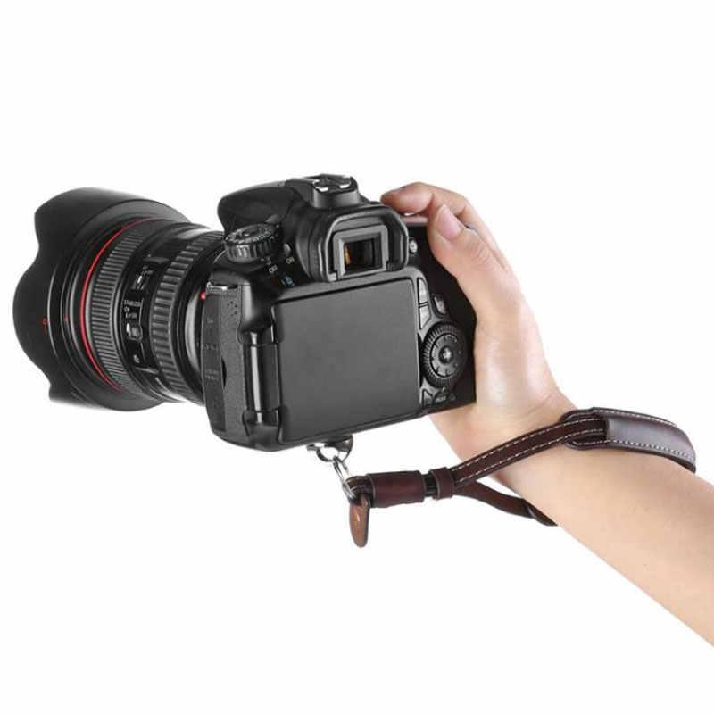 Correa de muñeca de cuero 1/4 tornillo para Canon Nikon Sony Olympus SLR/cámara DSLR Osmo móvil 2 cardán de mano de cuero correa
