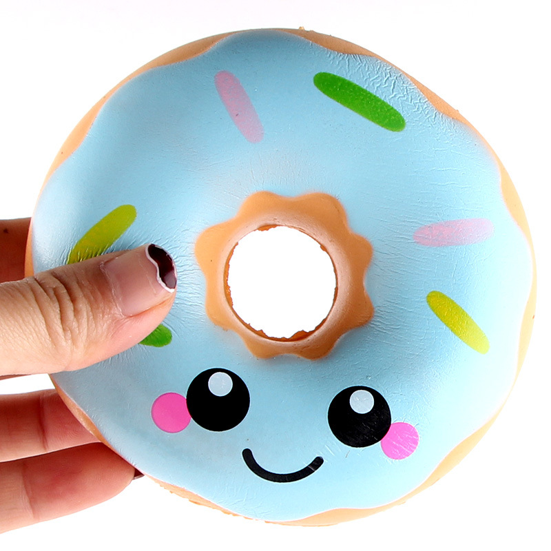 10CM Kawaii Jumbo Cartoon Face Donut Squeeze Squishy Slow Rising Phone Strap DIY Decor Scented Charm Bread Cake Kid Toys