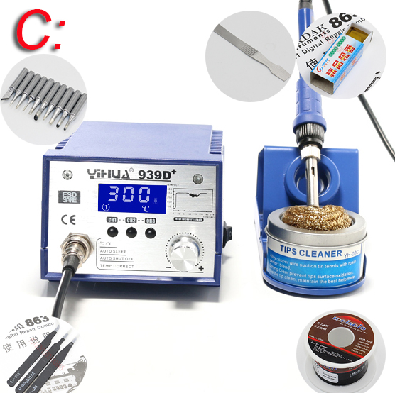 YIHUA 939D+ anti-static Adjustable thermostat 110V/220V EU/US PLUG electric iron soldering welding station soldering iron 936 soldering station saike anti static adjustable thermostat soldering iron 110v 220v electric iron soldering welding station