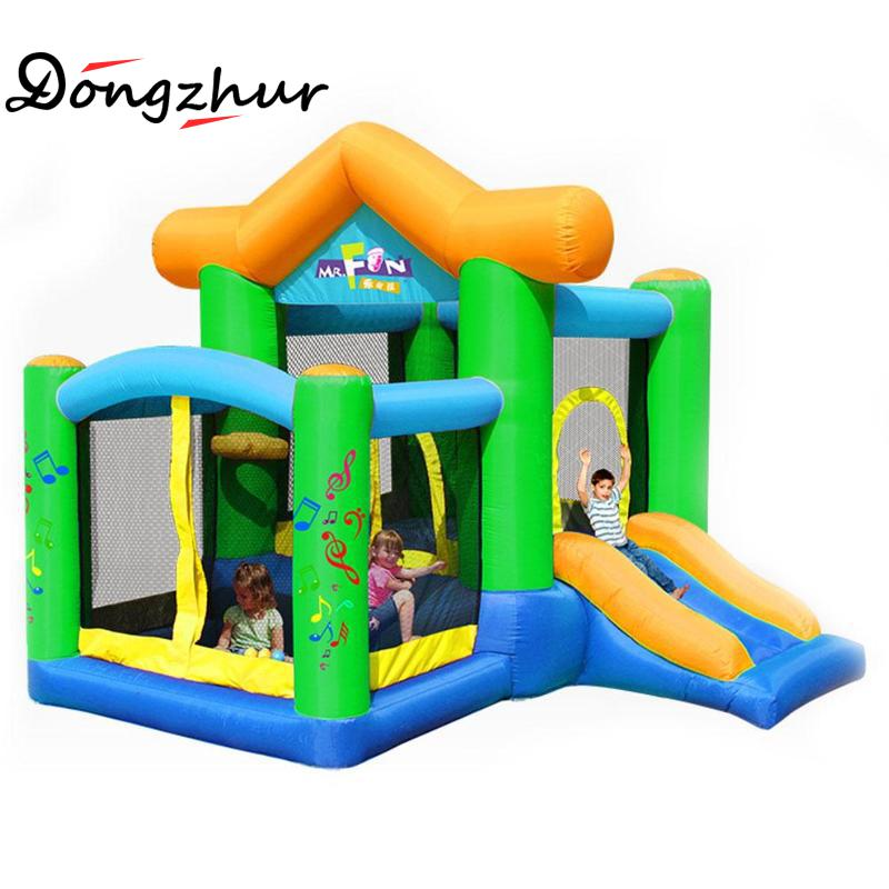 Dongzhur Bouncy Castle Inflatable Castle Jumping Trampoline For Children Bounce House Inflatable Bouncer Smooth Slide Inflatable teenage girl party dress children 2016 summer flower lace princess dress junior girls celebration prom gown dresses kids clothes