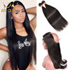 Cheap Pre Plucked 360 Lace Frontal With Bundle Peruvian Straight Human Hair 360 Lace Closure 3pcs/Lot 360 Frontal With Bundles