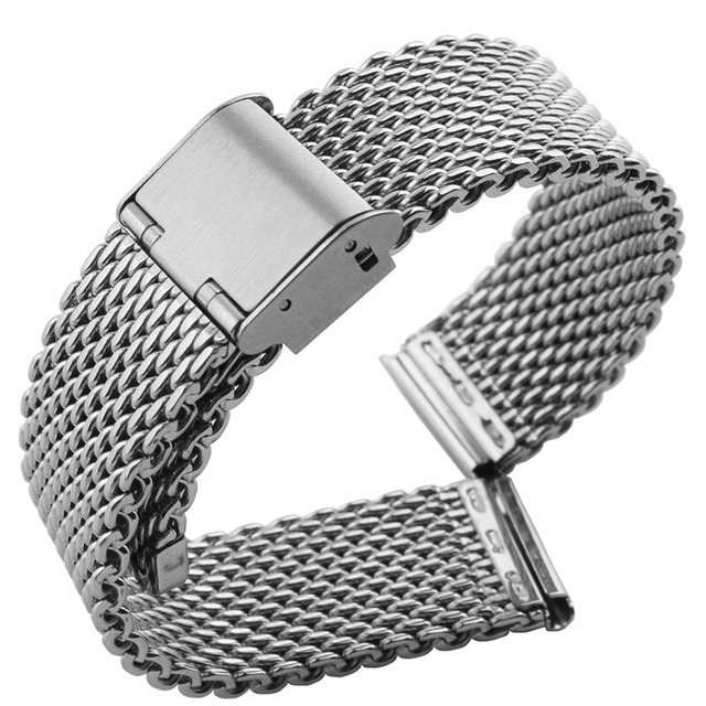 Free Shipping 18 Mm 24 Stainless Steel Wrist Watch Band Bracelet Strap Replacement For