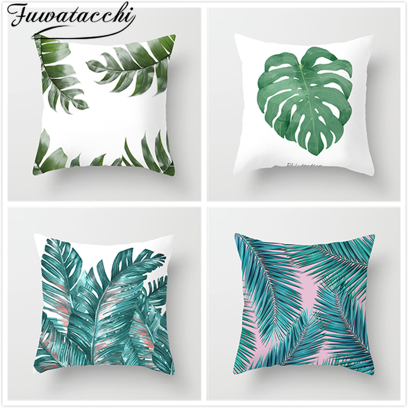 Fuwatacchi Leaf Flower Pillow Cover Tropical Style Green Plant Cushion Cover For Car Home Chair Decoration Polyester Pillow Case