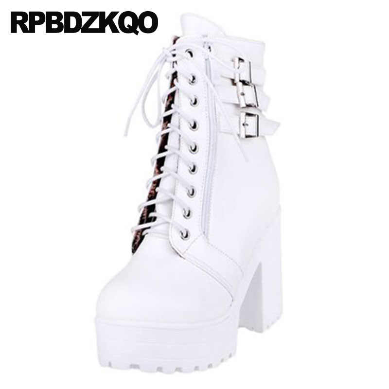 3fa893774c Detail Feedback Questions about Lace Up Belts Ankle Shoes White Women  Japanese 10 Waterproof Rock High Heel Punk Winter Chunky Big Size Gothic  Platform ...