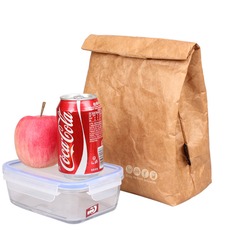 Foldable Reusable Leakproof Paper Lunch Food Bag Container Portable Large Capacity Kids Boy Women Thermal Cooler Insulated Kraft