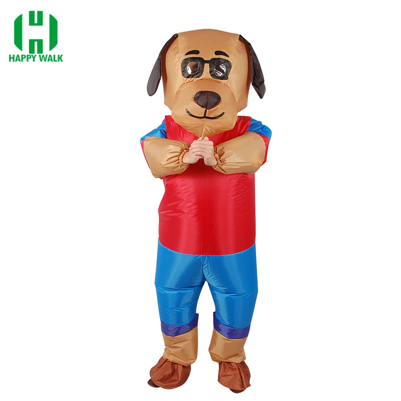 New Design Dog Cartoon Inflatable Costume Adult Animal Cosplay Clothing Party Funny Props for Halloween Blow