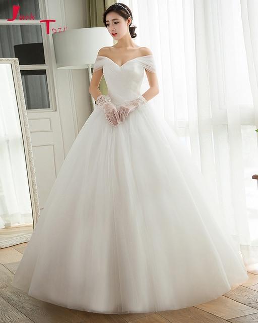 Jark Tozr Robe De Mariage Off the Shoulder Pleated Bride Gowns White Tulle  Luxury A-line Wedding Dress 2018 Vestido De Casamento ddf4c2f86561
