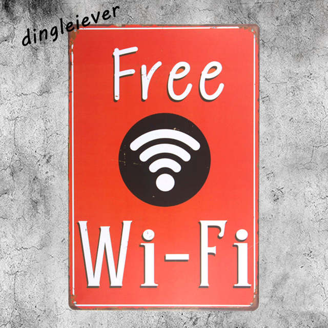 online shop new red free wifi vintage metal sign coffee signs