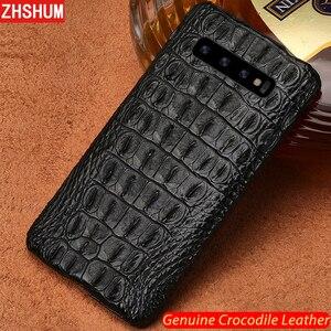Image 1 - Luxury Genuine Crocodile Leather Case For Samsung S10 Plus S10 Lite E Note 10 Pro Case Handmade Skin Back Cover for Galaxy Note 9 10 8 S9 S8 Plus + fundas S10e s10Lite S10+ shell couqe